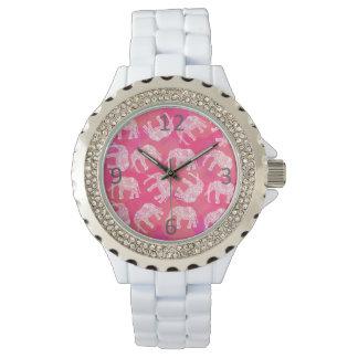 Relógio De Pulso teste padrão floral tribal colorido cor-de-rosa