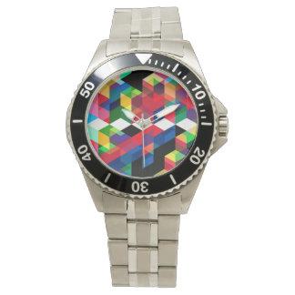 Relógio De Pulso Teste padrão geométrico brilhante do diamante
