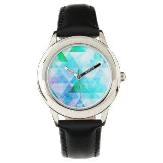 Relógio De Pulso Teste padrão geométrico da aguarela azul