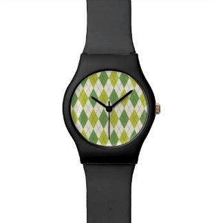 Relógio De Pulso Teste padrão geométrico verde retro de Argyle