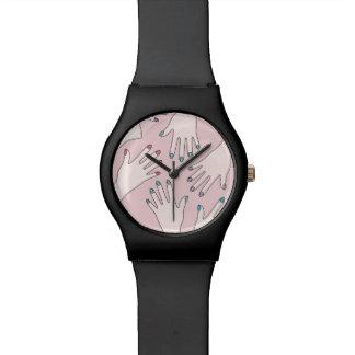 Relógio De Pulso Teste padrão Manicured do Pastel do rosa do