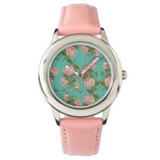 Relógio De Pulso Teste padrão Minty retro das videiras do vintage