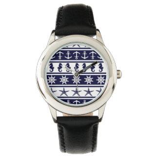Relógio De Pulso Teste padrão náutico na cor feita sob encomenda do