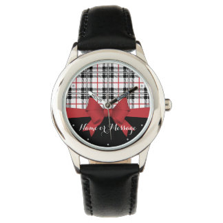 Relógio De Pulso Teste padrão preto vermelho do Tartan e nome
