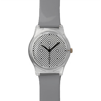 Relógio De Pulso Teste padrão tribal das listras preto e branco