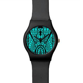 Relógio De Pulso Teste padrão, turquesa e preto arquitectónicos de