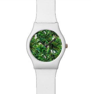 Relógio De Pulso Teste padrão verde da queda da floresta da