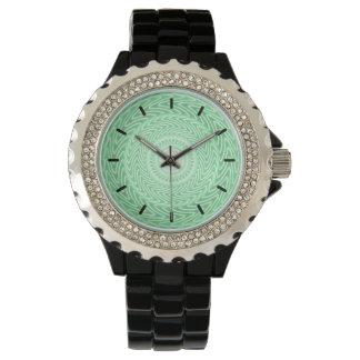 Relógio De Pulso Teste padrão verde dos círculos do primavera