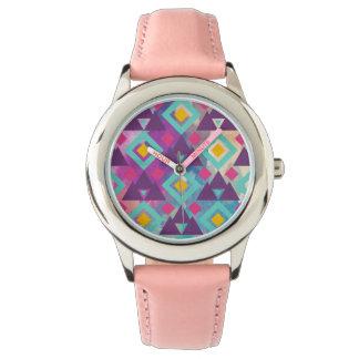 Relógio De Pulso Teste padrão vibrante colorido do batik do boho da