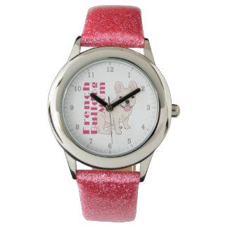 Relógio De Pulso Texto cor-de-rosa corajoso bonito de Frenchie da