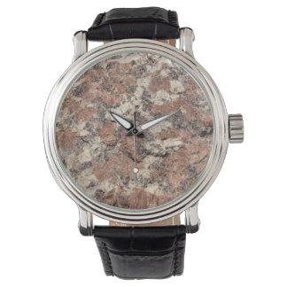 Relógio De Pulso Textura da rocha do granito --- Branco preto
