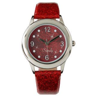 Relógio De Pulso Textura vermelha bonito do brilho