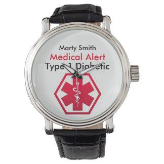 Relógio De Pulso Tipo alerta médico do diabetes - 1 ou 2
