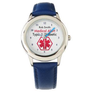 Relógio De Pulso Tipo alerta médico do diabetes dos meninos - 1 ou