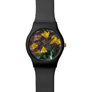 Relógio De Pulso tipo colorido amarelo flores da tulipa no