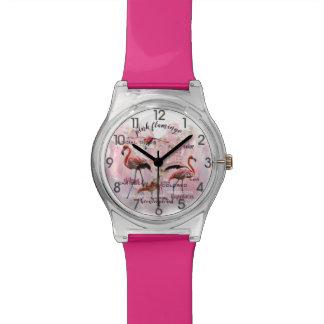 Relógio De Pulso Tipografia cor-de-rosa   do flamingo personalizado