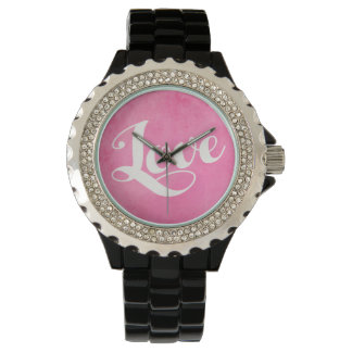 Relógio De Pulso Tipografia do amor do vintage