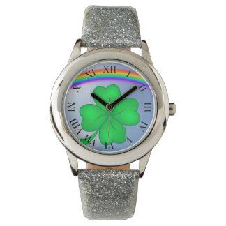 Relógio De Pulso Trevo De Quatro Folhas com arco-íris