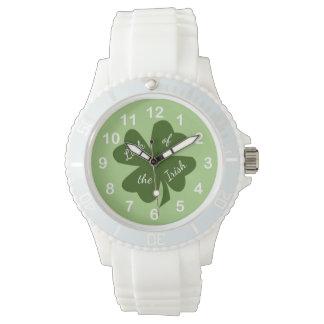 Relógio De Pulso Trevo verde & branco do Dia de São Patrício do
