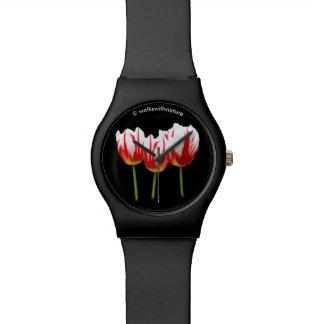 Relógio De Pulso Tulipas elegantes da folha de bordo