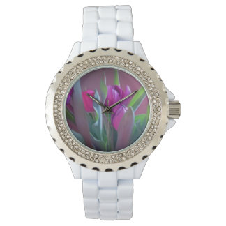 Relógio De Pulso Tulipas roxas do primavera