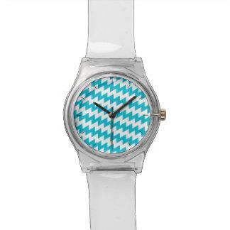 Relógio De Pulso Turquesa e viga diagonal branca