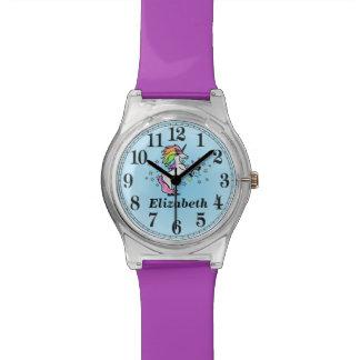 Relógio De Pulso Unicórnio bonito do nome e do arco-íris