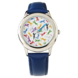 Relógio De Pulso Unicórnio colorido do teste padrão