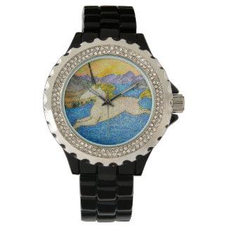 Relógio De Pulso Unicórnio que desliza sobre o lago evolution