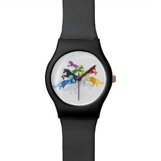 Relógio De Pulso Unicórnios selvagens coloridos da ilustração