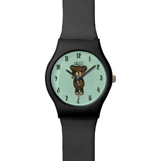 Relógio De Pulso Urso de Brown bonito com flor amarela