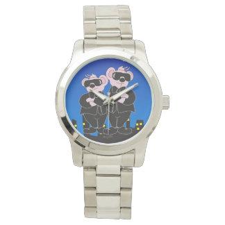 Relógio De Pulso URSOS no bracelete de prata desproporcionado dos