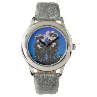 Relógio De Pulso URSOS no brilho PRETO da prata dos DESENHOS