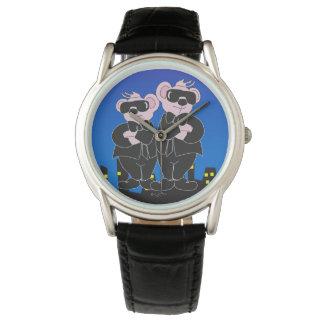 Relógio De Pulso URSOS no couro preto clássico dos DESENHOS