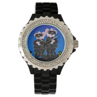 Relógio De Pulso URSOS no esmalte PRETO do preto do cristal de