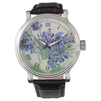 Relógio De Pulso Vaso com íris, belas artes florais de Van Gogh do