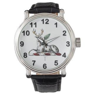 Relógio De Pulso Veado dos cervos com o emblema heráldico da crista