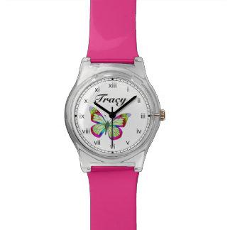 Relógio De Pulso Verde azul brilhante e água lunática cor-de-rosa