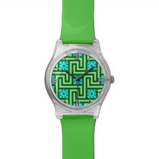 Relógio De Pulso Verde grego da chave, da turquesa e de jade de