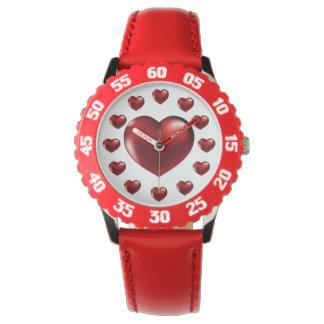 Relógio de pulso vermelho grande do coração para