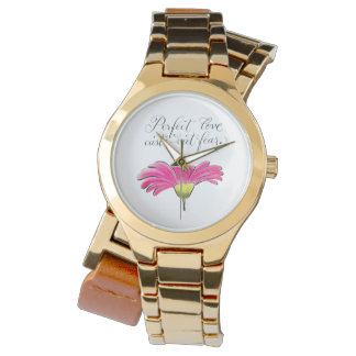 Relógio De Pulso Verso inspirado do amor perfeito cor-de-rosa da