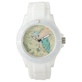 Relógio De Pulso Vintage do mapa de Tan da tartaruga de mar