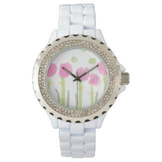 Relógio De Pulso Wach cor-de-rosa das mulheres das flores do