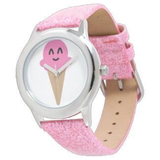 Relógio De Pulso Wach cor-de-rosa do sorvete de Emoji