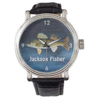 Relógio De Pulso Walleye personalizados Pike no azul