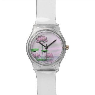 Relógio De Pulso Waterlilies e flores de lótus cor-de-rosa - 3D