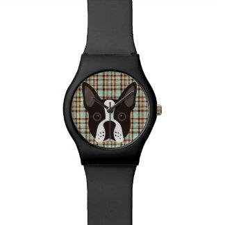 Relógio De Pulso Xadrez de Tartan do cão de filhote de cachorro de