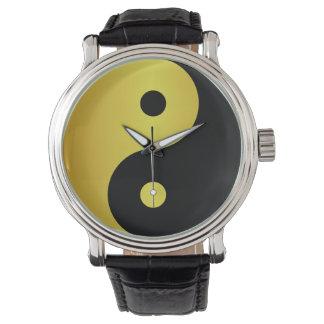 Relógio De Pulso Zen asiático da filosofia do ouro do símbolo   de