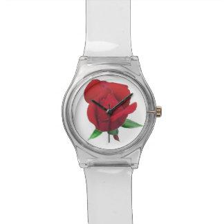 Relógio de senhoras cor-de-rosa do botão