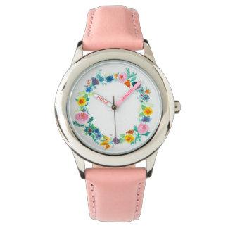 Relógio de senhoras floral feminino da grinalda